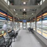 Hicksville Station, Waiting Room 1, Maple, art glass, (total length 50 ft), installed 2018, commissioned by MTA Arts & Design
