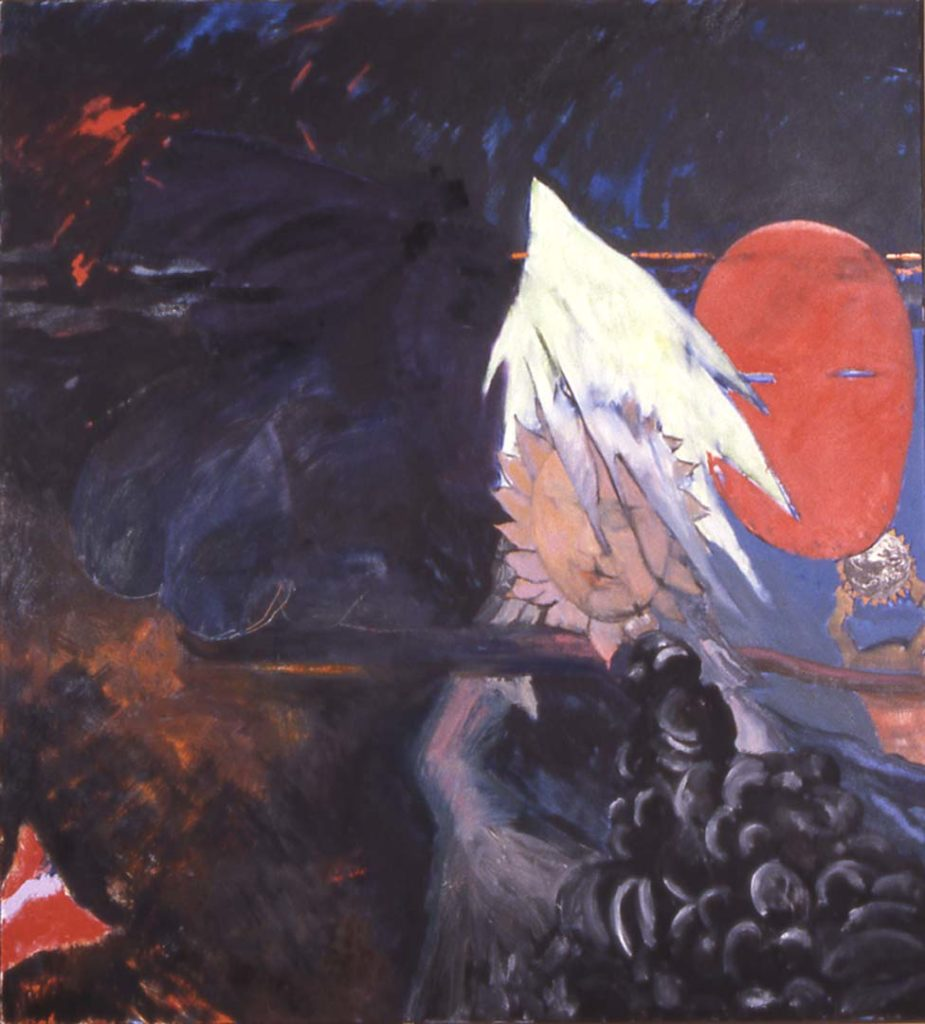 Roy Nicholson, On the Wings of Night, 1990, oil and collage on canvas, 68 x 62 inches.
