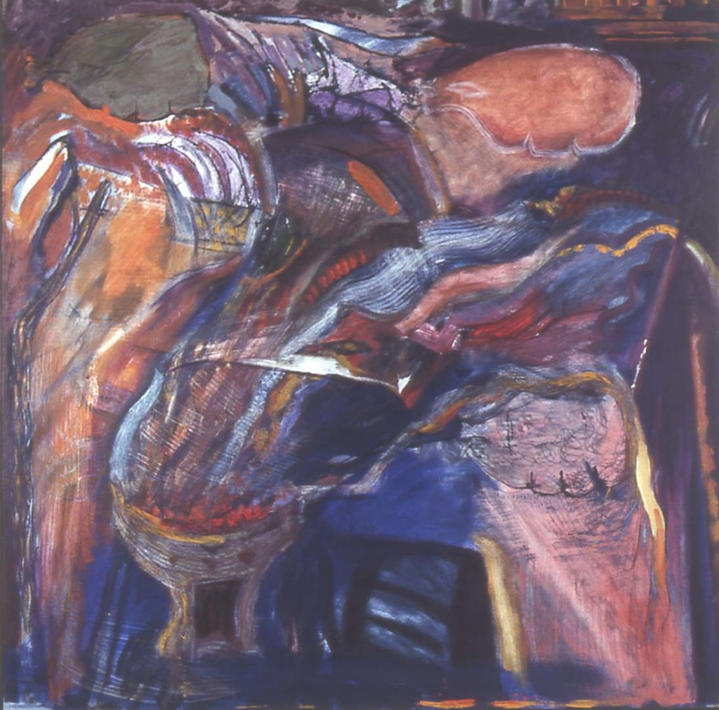 Roy Nicholson, All Fire and Music, 1991, oil on canvas, 58 x 58 inches.