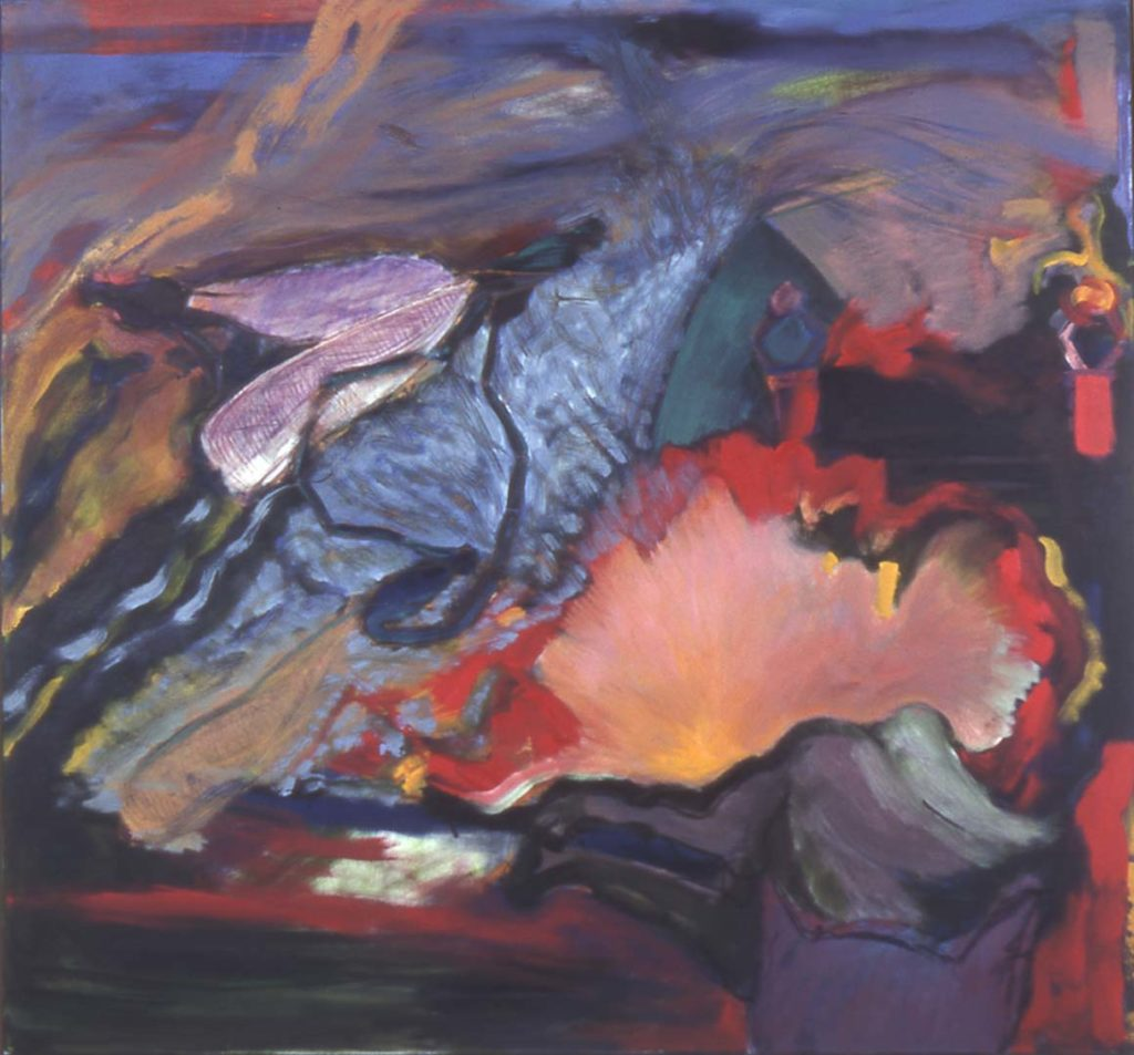 Roy Nicholson, Damsel, 1991, oil on canvas, 64 x 68 inches.