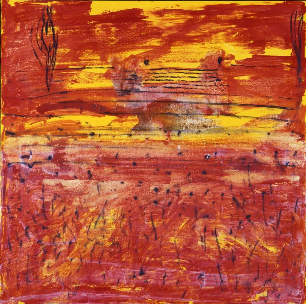 Roy Nicholson, 52 Weeks 1997 - Week 22, mixed media on linen, 24 x 24 inches.