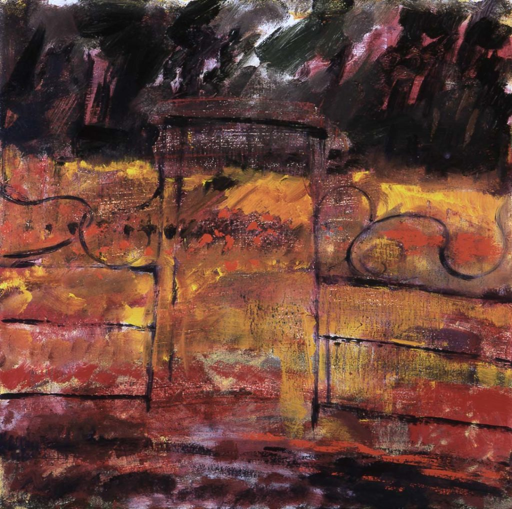 Roy Nicholson, 52 Weeks 1997 - Week 41, mixed media on linen, 24 x 24 inches.