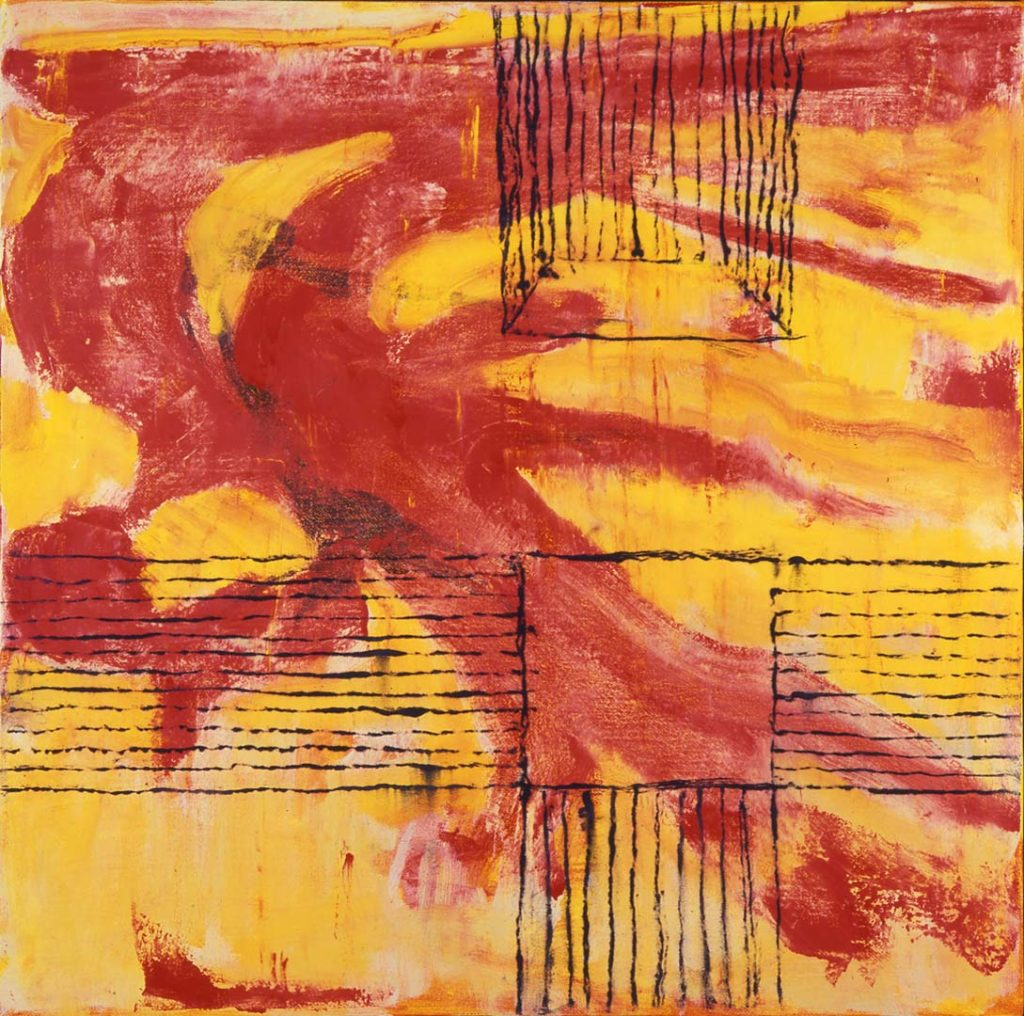 Roy Nicholson, 52 Weeks 1997 - Week 47, mixed media on linen, 24 x 24 inches.