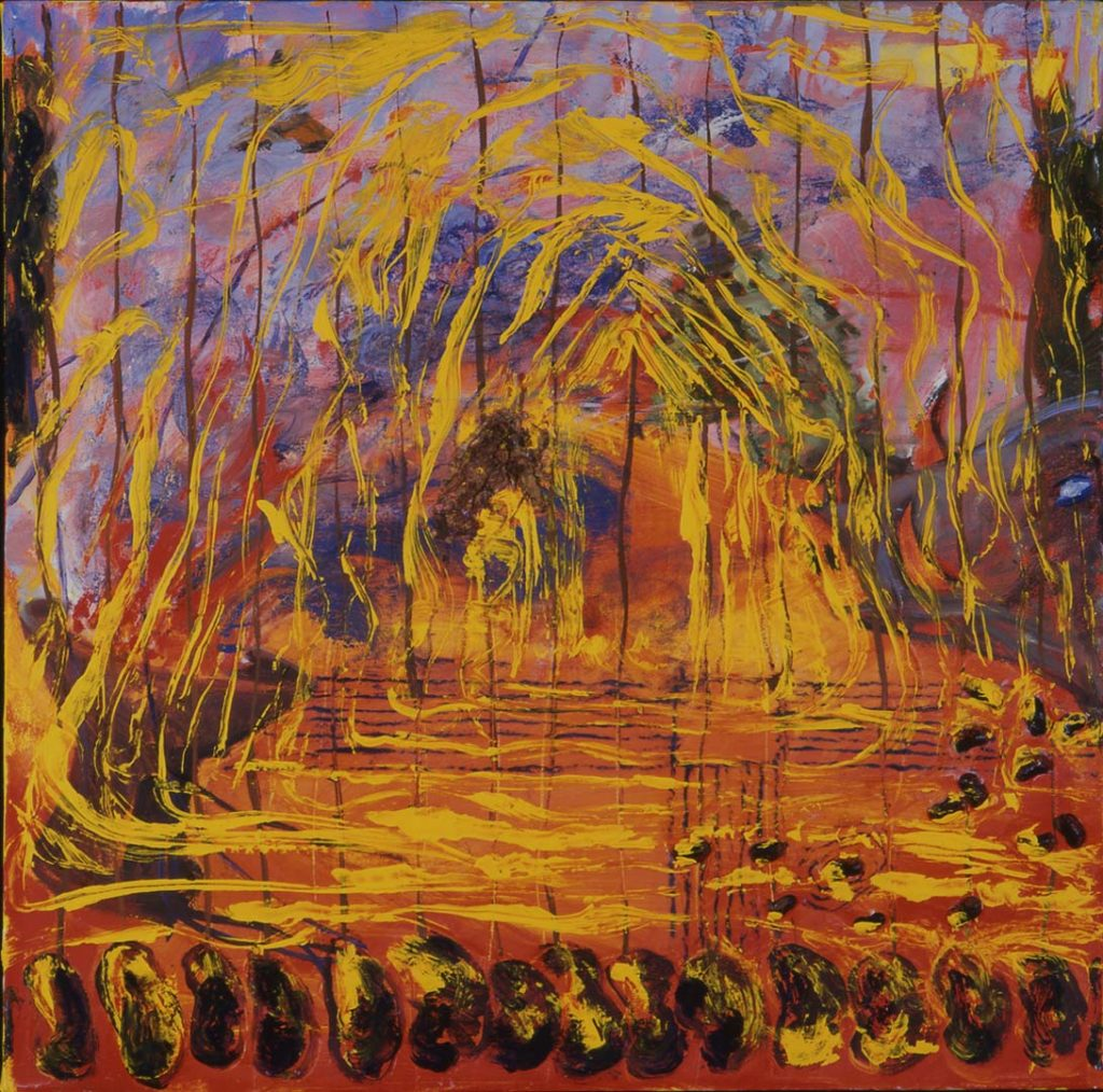 Roy Nicholson, 52 Weeks 1997 - Week 52, mixed media on linen, 24 x 24 inches.