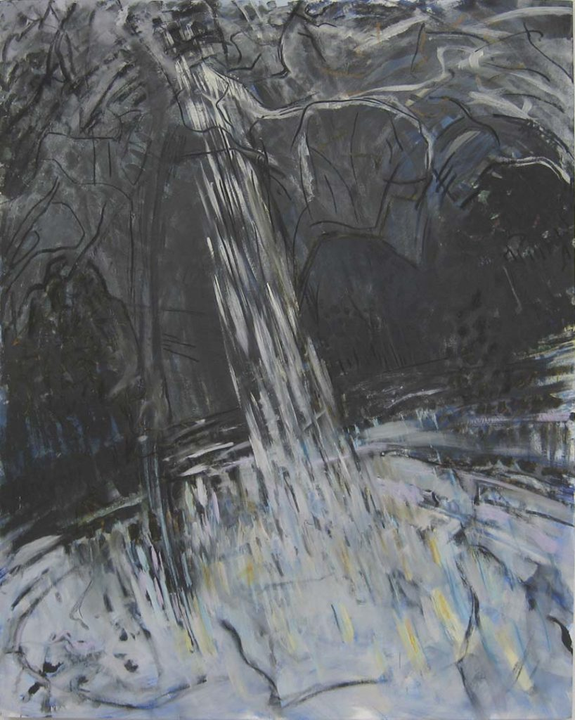 Roy Nicholson, Pond (20) 1987 oil, pastel, and charcoal on canvas, 68 x 54 inches.
