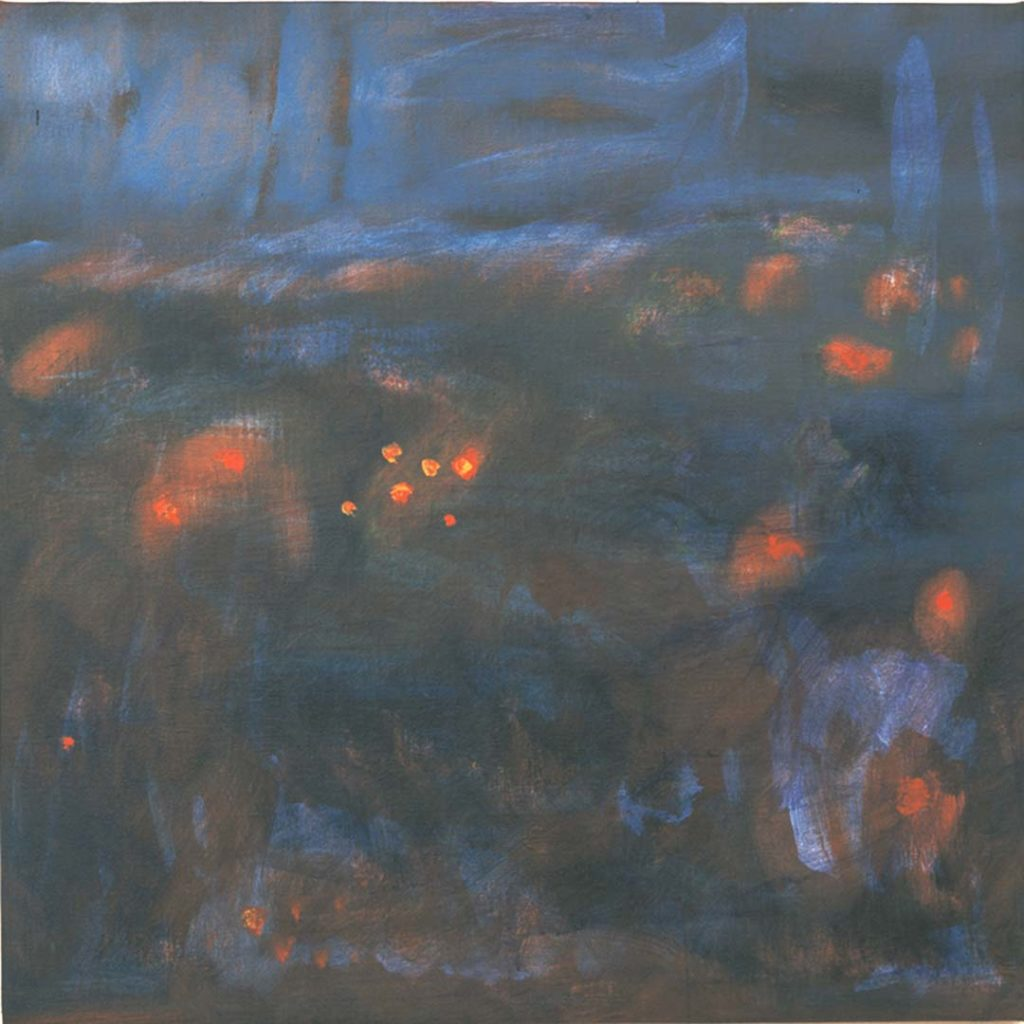 Roy Nicholson, E,L's Gloaming #10, 2001-2003, acrylic, oil and collage on linen, 48 x 48 inches.