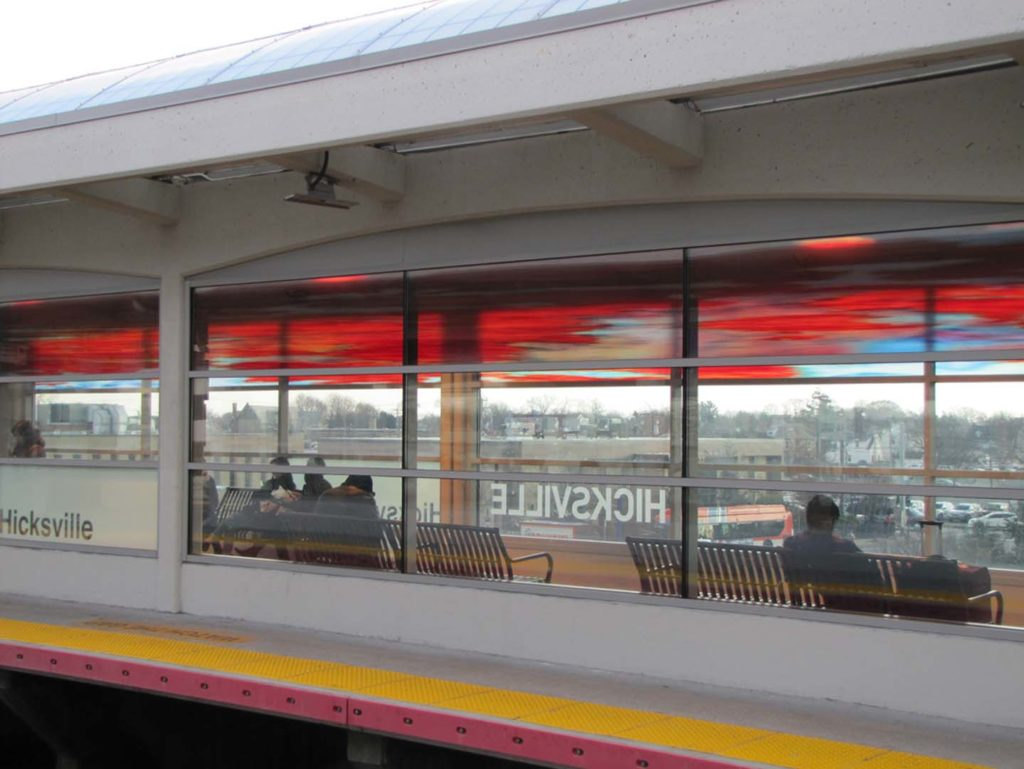 Hicksville Station, Eastbound Waiting Room 2, Cedar, art glass. (total length 50 Ft.), installed 2018, commissioned by MTA Arts & Design.