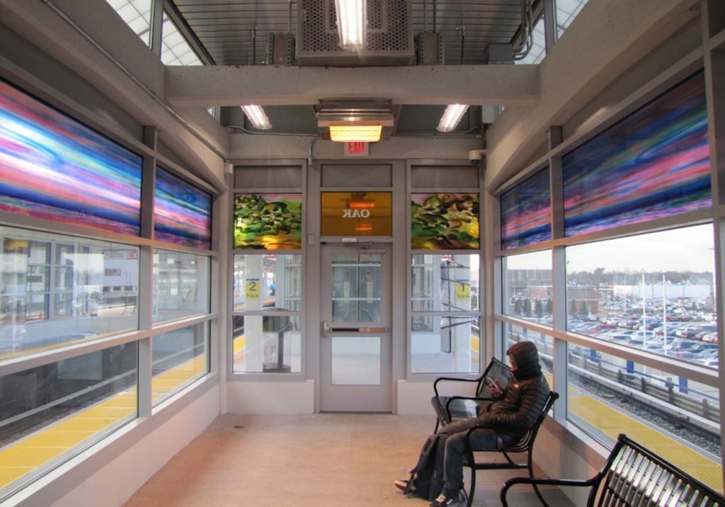 Hicksville Station, Westbound Waiting Room 2, Oak, art glass. (total length 50 Ft.), installed 2018, commissioned by MTA Arts & Design.