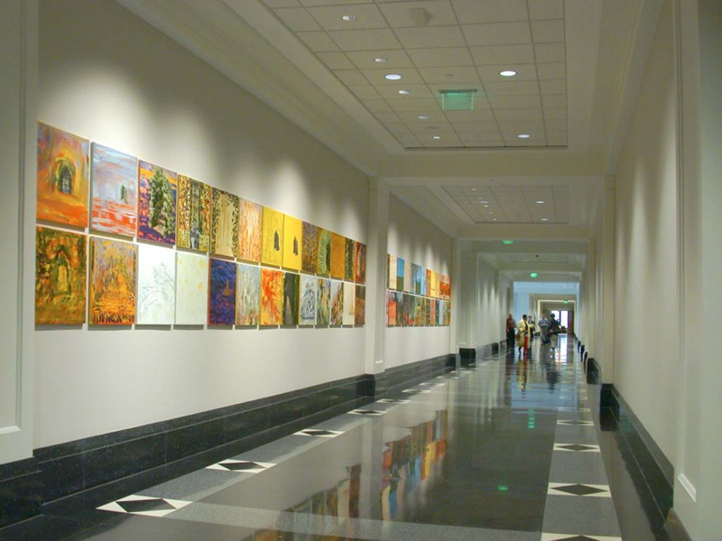 52 Weeks, 1997. Mixed media on linen. 4 x 60 feet. Installed at the Federal Reserve Bank of Atlanta 2001.