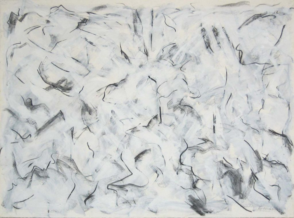 Goldfish (86) 1984, Charcoal and acrylic on paper, 37 x 50 inches