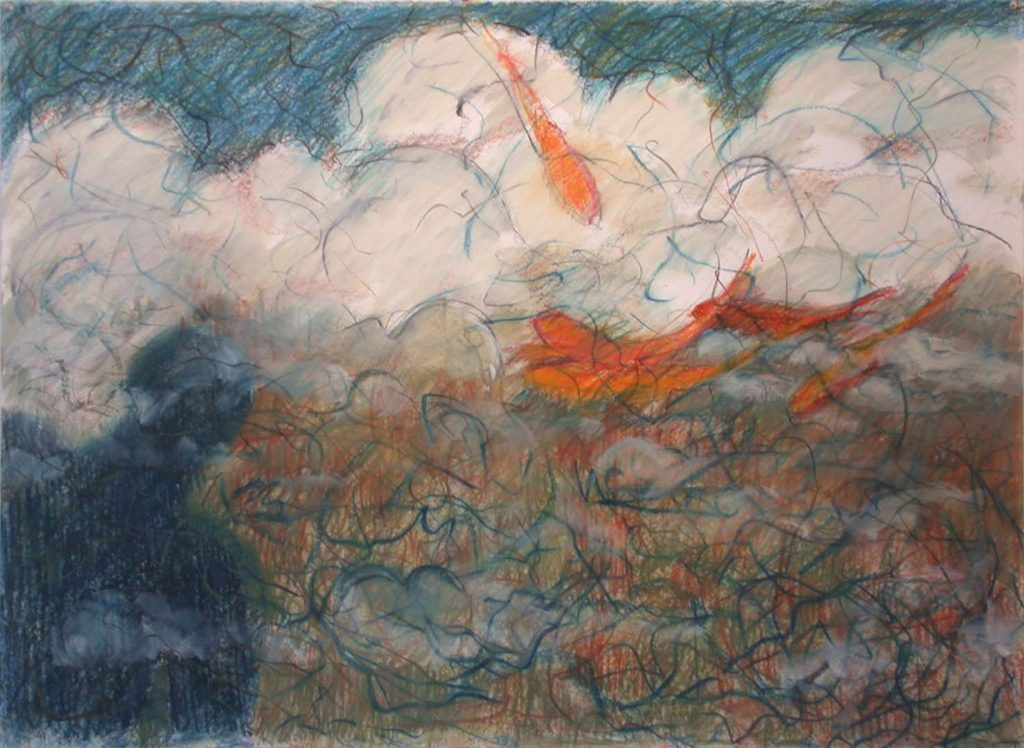 Goldfish (97) 1985, Alkyd and oil pastel on paper, 31.5 x 50 inches