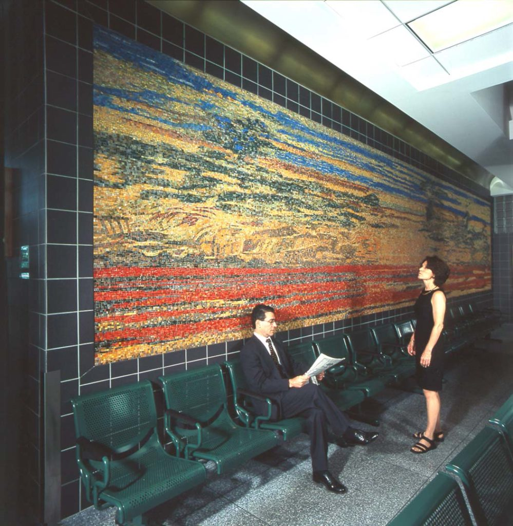 Evening Transit, Hempstead Plain, glass mosaic, 7 x 33 feet, Hicksville station, Long Island Rail Road, installed 2000. Commissioned by New York Metropolitan Transportation Authority, Arts for Transit, (now Arts and Design). Photo Patrick Cashin.