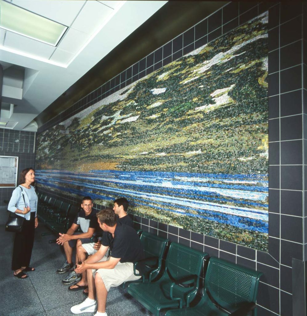 Morning Transit, Hempstead Plain, glass mosaic, 7 x 33 feet, Hicksville station, Long Island Rail Road, installed 2000. Commissioned by New York Metropolitan Transportation Authority, Arts for Transit, (now Arts and Design). Photo Patrick Cashin.